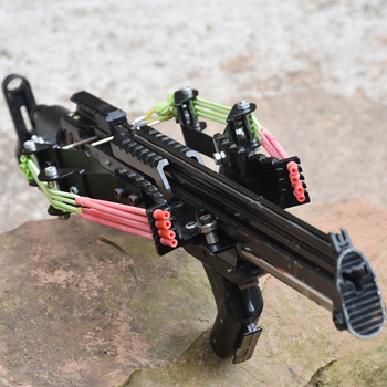 Wolf King Powerful Slingshot Rifle Metal Hunting Catapult Continuous Shooting 40-rounds Ammo and Arrow for Hunting and Shooting 1