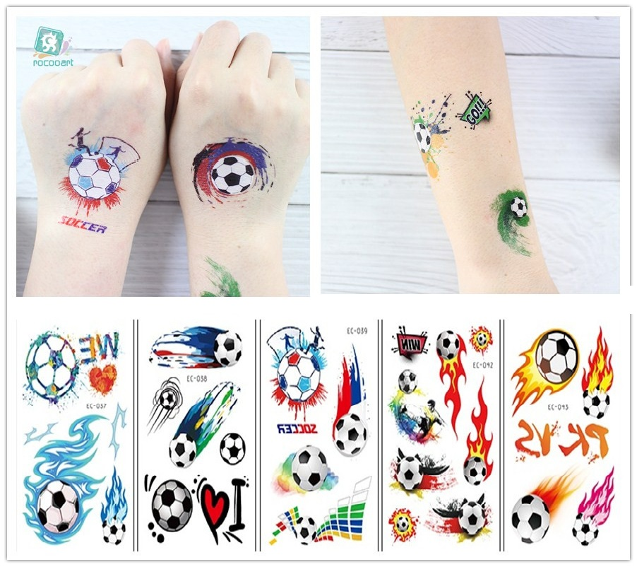 Rocooart 1 Sheet Hot Football Kids Temporary Tattoo Sticker Colorful Fake Tatoo Flash Tatto Waterproof Small Body Art For Child
