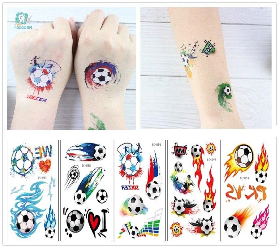 Rocooart 1 Sheet Hot Football Kids Temporary Tattoo Sticker Colorful Fake Tatoo Flash Tatto Waterproof Small Body Art For Child