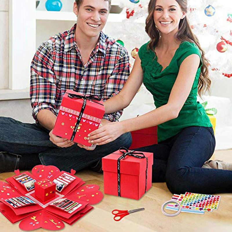 صديق الجمعية مفاجأة صندوق هدية تصميم فريد موضة انفجار هدية صندوق أسود الإبداعية الحب ألبوم بها بنفسك ألبوم صور سجل القصاصات
