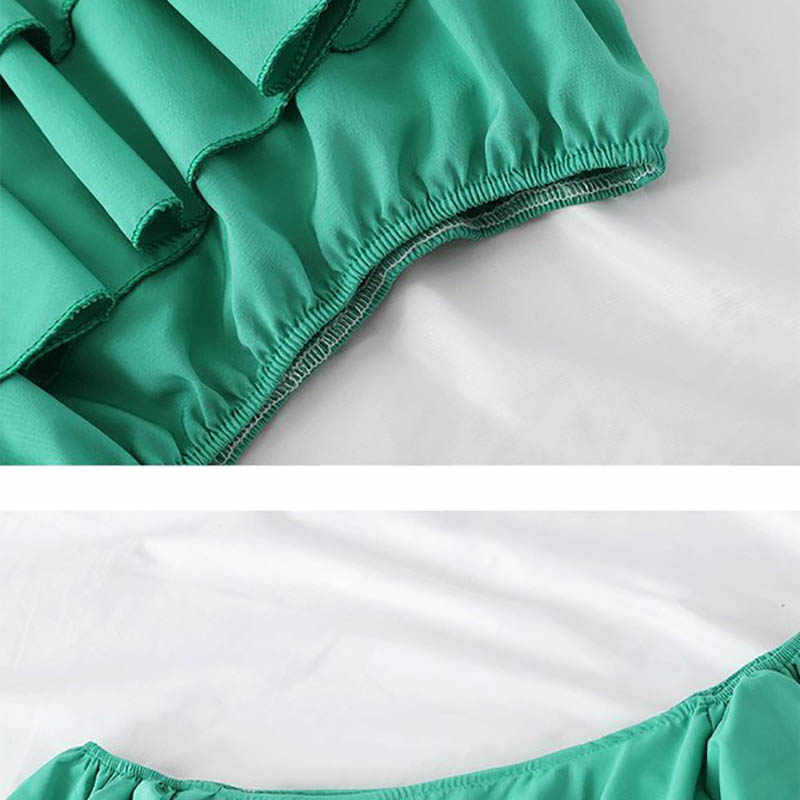 Heliar 2019 夏ファッション新バージョンフリル作物トップス裏地上部の衣服女性トップススラッシュ