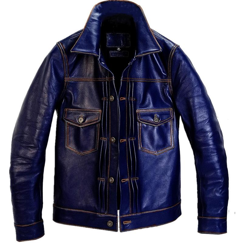 2020 Blue Men Japan Style Slim Fit Casual Leather Jacket Single Breasted Plus Size XXXXL Genuine Cowhide Short 507X Leather Coat