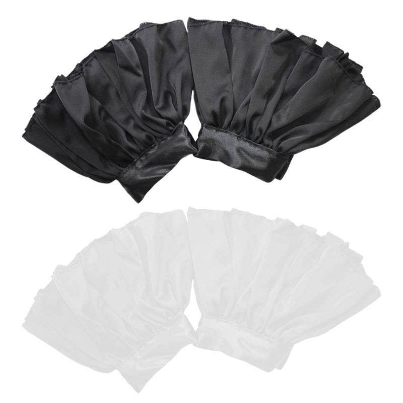 THINKTHENDO 1Pair Wrinkled Pleated Flare Fake Sleeve Elastic Silk False Cuffs Women Decor