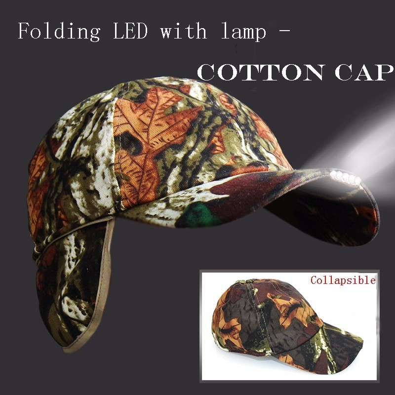 new 1 Pcs Hot Levou Light Battery Cap Cotton Clown Foldable Hat With Lantern For Bicycle Night Fishing Keep It Warm