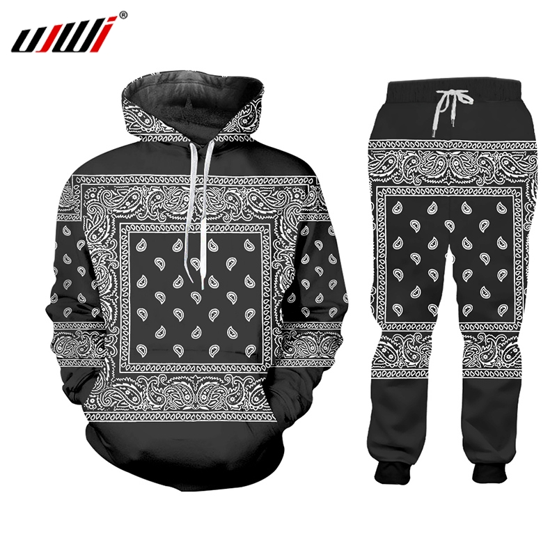 UJWI Hip Hop Women/men Jogger Pants Sweatshirt Paisley Graphic Tracksuit Sweatpants Hoody Cashew Floral Streewear Two Piece Set