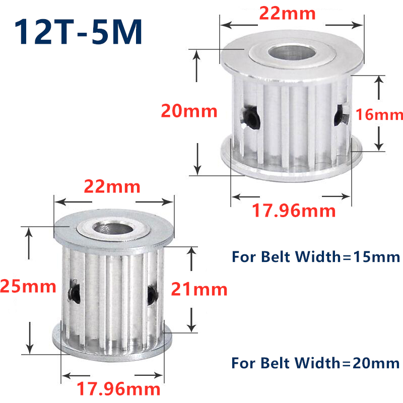 HTD 5M 12 Teeth Synchronous Timing Pulley Bore 5/6/6.35/7/8/10mm for Width 15/20mm HTD5M Belt gear 12-5M-15 AF 12Teeth 12T