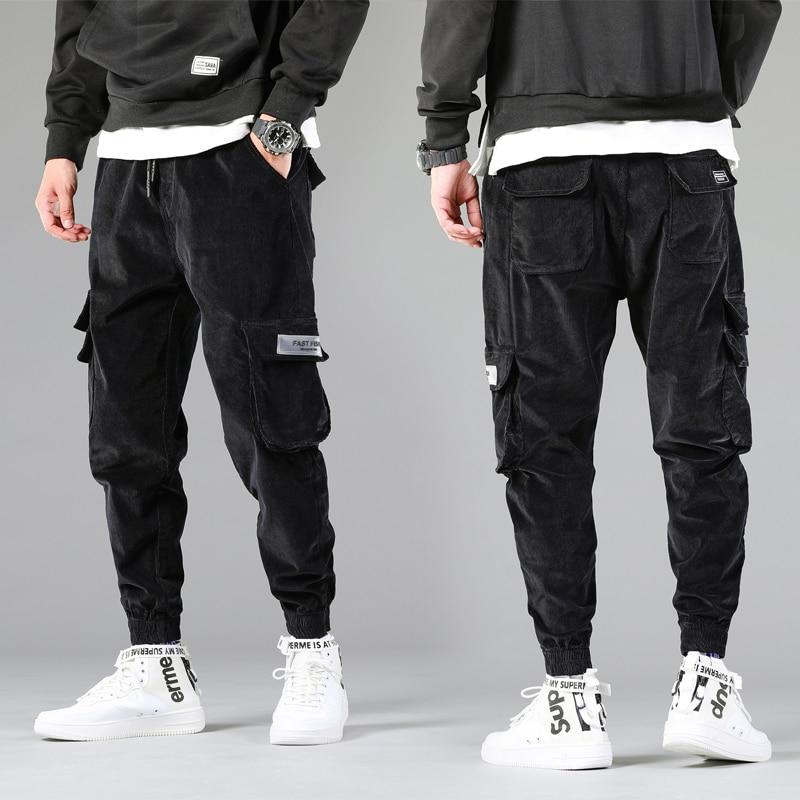 Autumn New Men Vintage Black Warm Corduroy Cargo Casual Pants Streetwear Hip Hip Harajuku Man Jeans Jogger Sweatpant Trousers