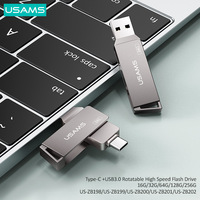 USAMS OTG 3 IN 1 Type-C+USB 3.0 High Speed Flash Drives Pendrive USB Key 16G 32GB 64GB 128GB 256G USB Flash Driver For Phone/Tab