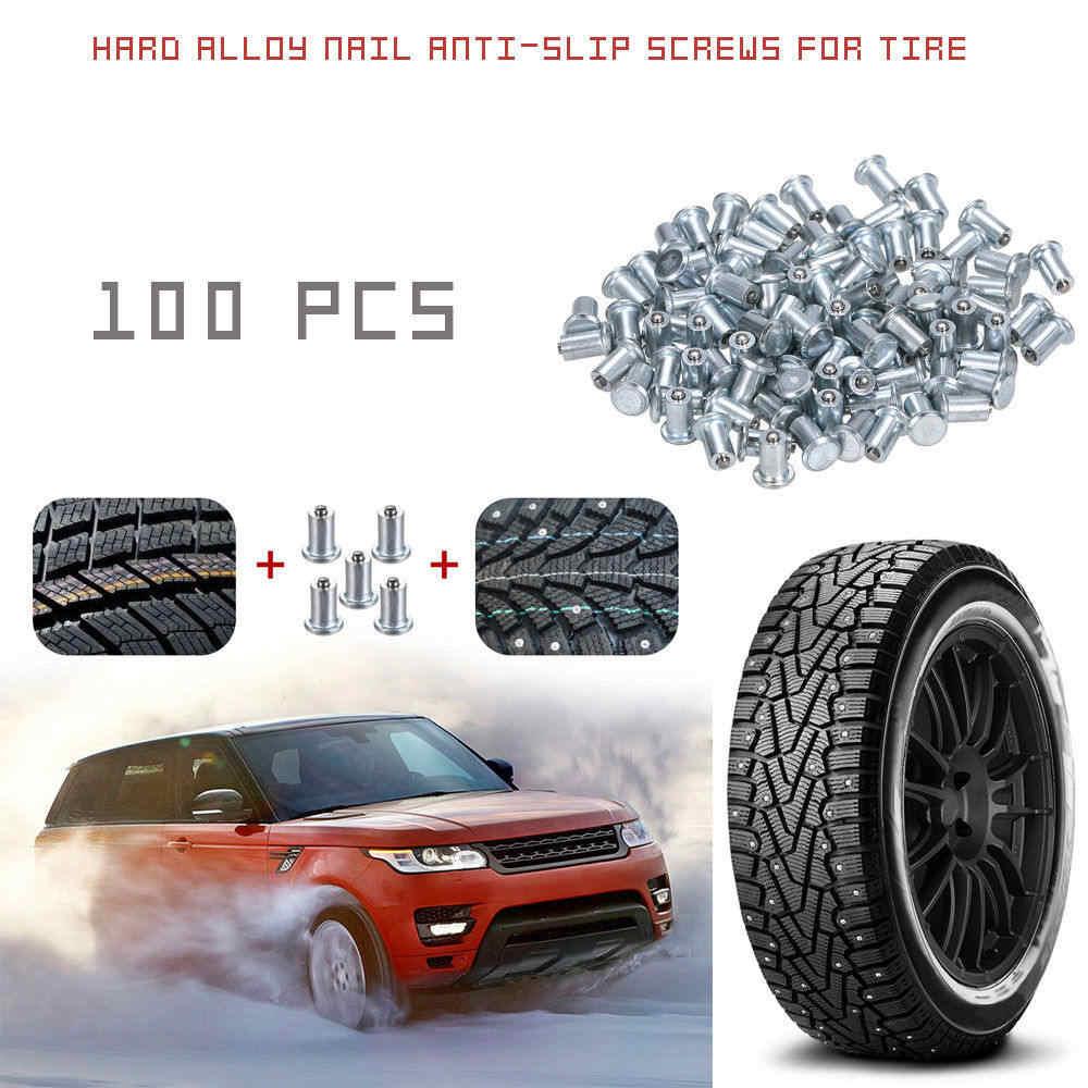 100X 9mm Auto SUV Tires Screw Wheel Snow Stud Spike With Installation Tool U5D1