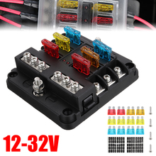 Car Fuse Box 6 Ways Holder 12V 32V Plastic Cover With LED Indicator Light for Boat Marine Trike