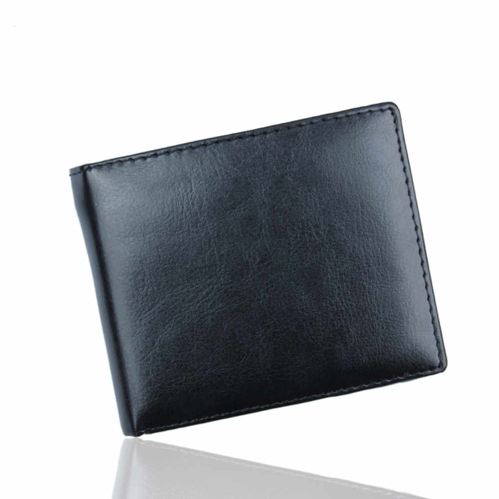 High Quality Short Wallet  Men Bifold Business Leather Solid Purse Big Capacity ID Credit Small Card Holder Pockets Bag 2019