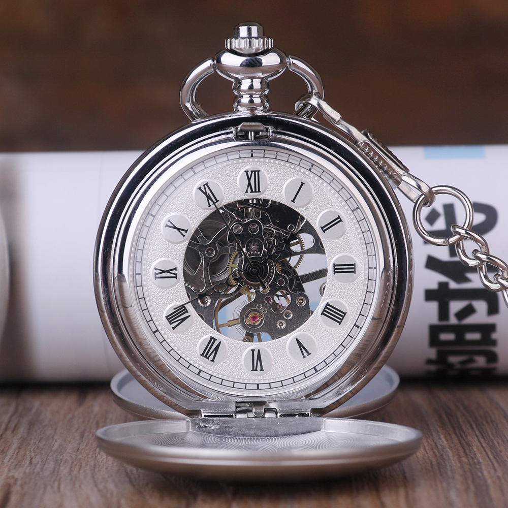 Silver-Smooth-Case-Vintage-Roman-Number-Hand-Wind-Mechanical-Pocket-Watch-Double-Open-Hunter-case-fob