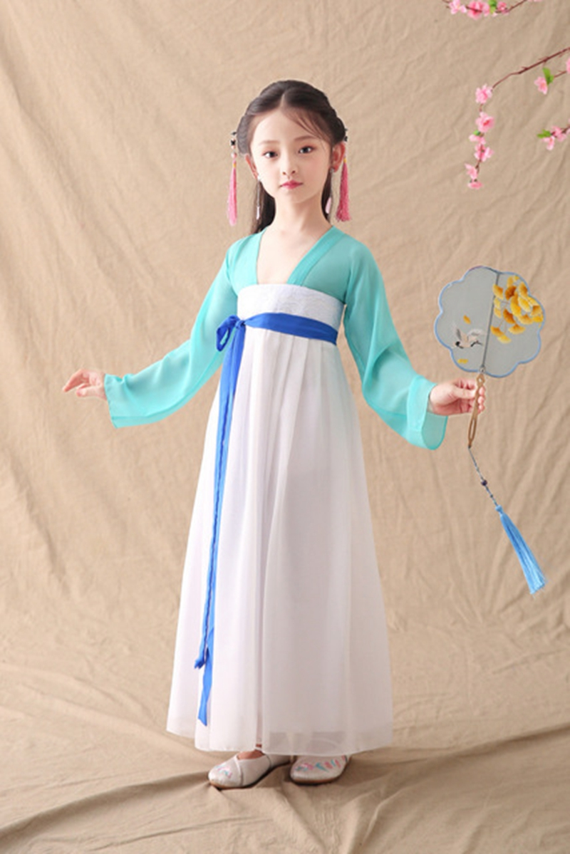 Green Color Girls Dance Clothes Improved Hanfu Dress 2019 New Children's Skirts Elegant Costumes Costumes Chinese Style Skirt