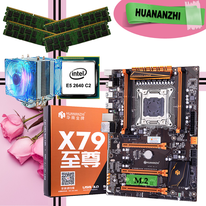 HUANANZHI deluxe X79 LGA2011 gaming motherboard processor Xeon E5 2640 C2 with cooler RAM 64G(4*16G) DDR3 1333MHz RECC image