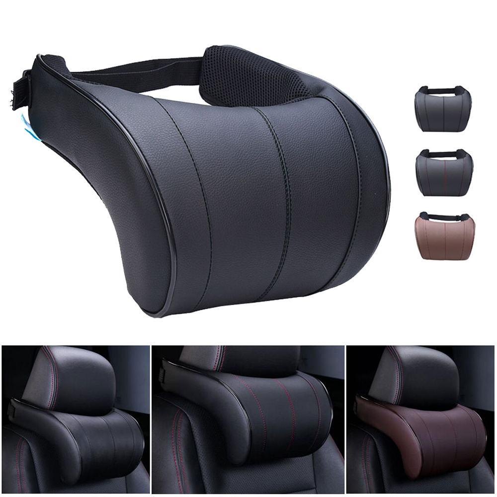 1PCS PU Leather Auto Car Neck Pillow Memory Foam Pillows Neck Rest Seat Headrest Cushion Pad 3 Colors High Quality