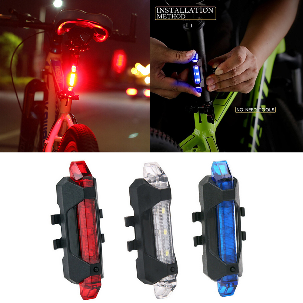 Bicycle Light Waterproof Rear Tail Light LED USB Rechargeable Mountain Bike Cycling Light title=