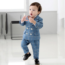 Tuxedo Boys Party-Dress Formal Lattice-Suits Kids Occasion Blue Little