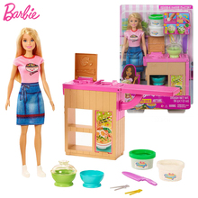 Original Barbie Dolls Noodle Maker Bar with Accessories Doll for Girls Kitchen Chef Playset Toys for Girls Interactive Juguetes