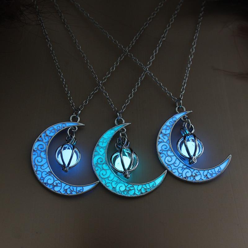 Светящиеся в темноте ожерелье для женщин и девочек Цвет ночь Хэллоуин луна ожерелье с подвеской в виде тыквы, Модный кулон в виде украшения ...