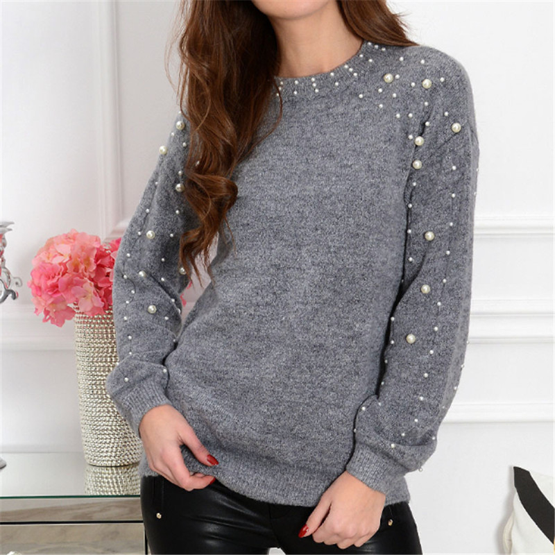 2019 Fashion Pearl Beading Sweater Women Winter Christmas Knitted Warm Jumper Tops Women Lantern Sleeve Gray Sweaters Pull Tops
