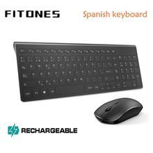 Комбинация беспроводной клавиатуры и мыши с испанской раскладкой, 2,4 гигагерц, стабильная подключение, перезаряжаемая батарея, портативная Бесшумная черная