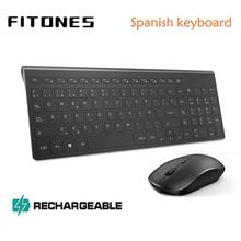 Combinazione tastiera e mouse wireless spagnolo, batteria ricaricabile con connessione stabile gigamanga 2.4, nero muto portatile