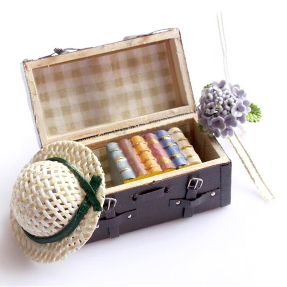 1/12 Dollhouse Miniature Carrying Vintage Leather Wood Suitcase Luggage Classic Toys Pretend Play Furniture Toys