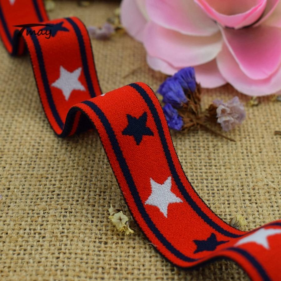 #342 Woven Elastische bands Zwei farbe Sterne Gummibänder Weiche Bandagen Streifen Baby Kinder Stirnbänder Unterwäsche Leggins Hosen 1 hof