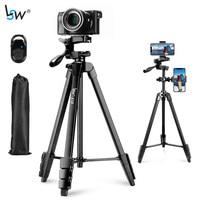 Trípode ligero para cámara, soporte con 2 soportes para teléfono móvil y Control remoto por Bluetooth, bolsa de transporte para viajes en vivo, Youtube