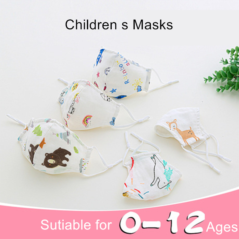 0-4-12 Age Newborn Kids Washable Face Mask 4-layer Children Mask Mascarillas Children Cartoon Mask Washable Cotton Mask