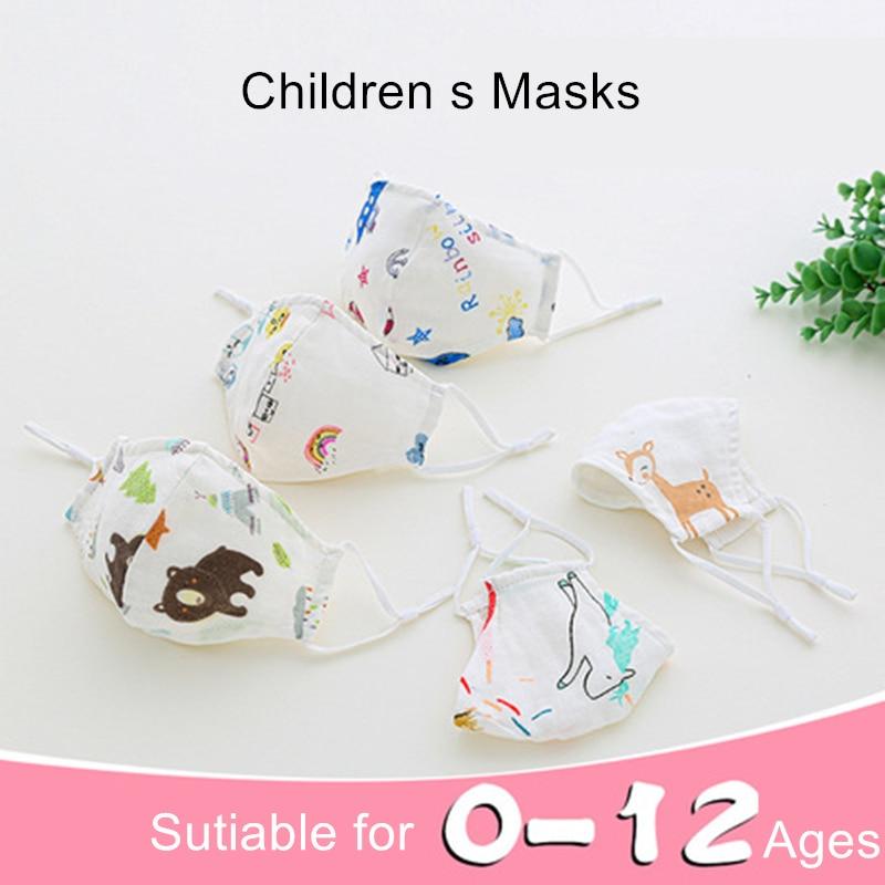 0-4-12 Age Newborn Kids Washable Face Mask 4-layer Children Mask Mascarillas Children Cartoon Mask Washable Cotton Mask