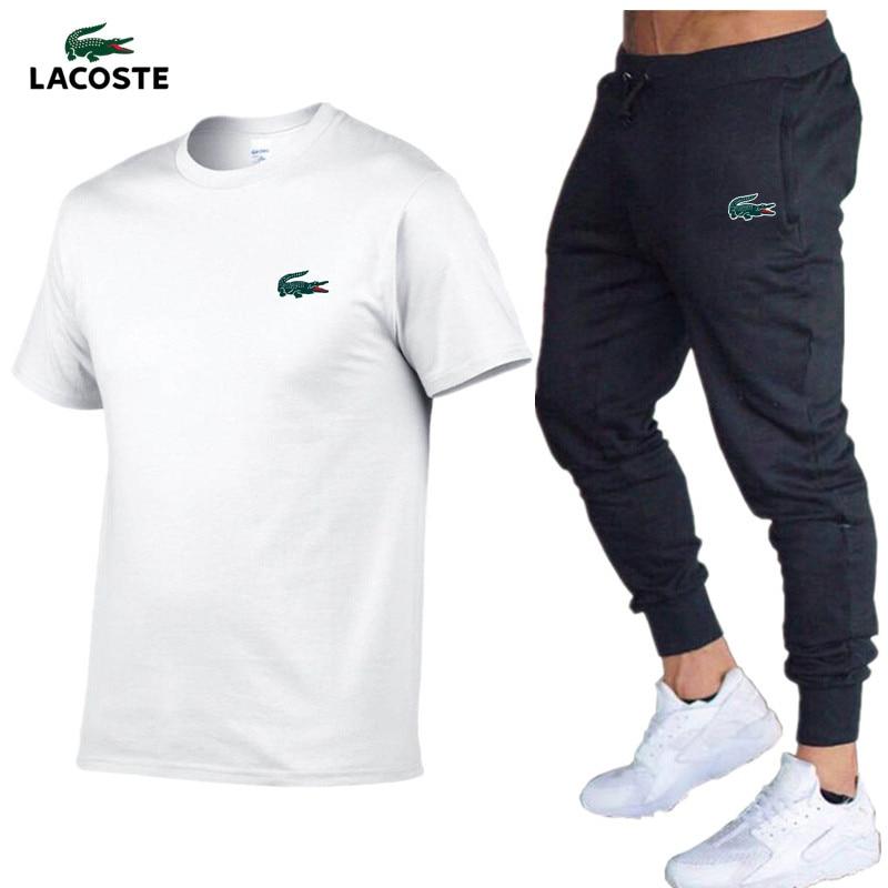 Lacoste- Men's Sets Mens Clothes Quick Drying T Shirt Short Pants Fashion Casual Tracksuit Men Sweat Suit Fashion Casual