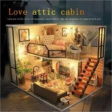 Toy Doll-House Building-Model Wooden DIY 224 Cabin Villa Birthday-Gift Handmade American