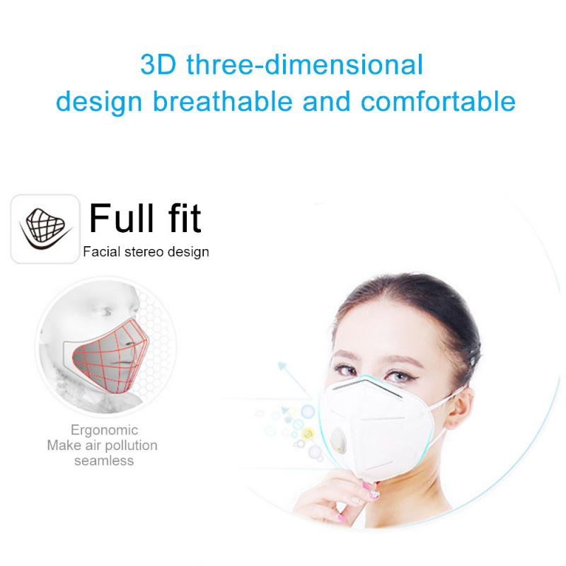 15 Pcs Valved Dust Mask Folding Non-woven High Elastic Rubber Band KN95 Mask PM2.5 Anti Dust Non-washable Safety Breathable