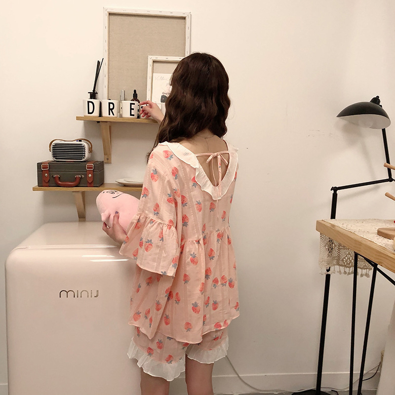 Korean-style Summer New Style Sweet Lace Strawberry Printed Short Sleeve Shorts WOMEN'S Suit