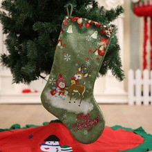 Christmas Stockings Hanging Ornament Green Candy Gift Bag Portable Cute Decoration