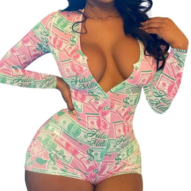 2020 Hot Sale Women Sexy Stretchy Pajamas Long Sleeve V-Neck Pineapple Star Heart Printed Bodycon Summer Lady Jumpsuit Romper