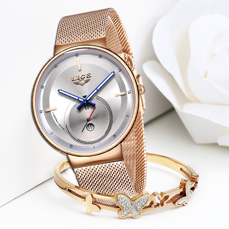 2020 Japan Quartz Movement High Quality LIGE Women All Steel Strap Rose Gold Waterproof Women Watch Dropshipping Reloj Hombre