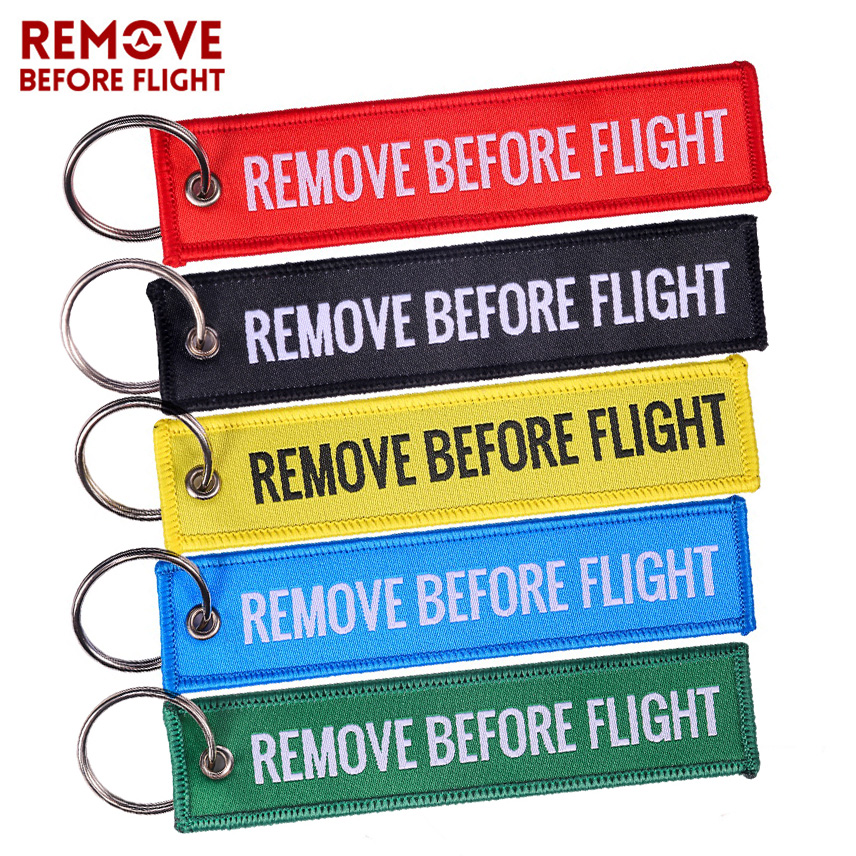 Remove Before Flight Woven Key Chain Special Luggage Label Red Chain Keychains For Aviation Gifts OEM Keychain  Jewelry