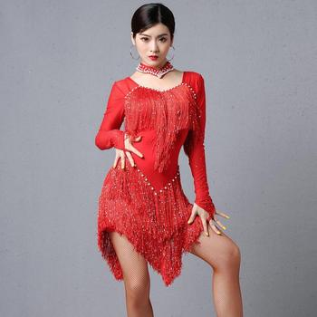 Brand Hot Sale New Ladies Fashion Latin Dance Costumes Female Adult Competition Autumn And Winter Long Sleeve Fringed Dress