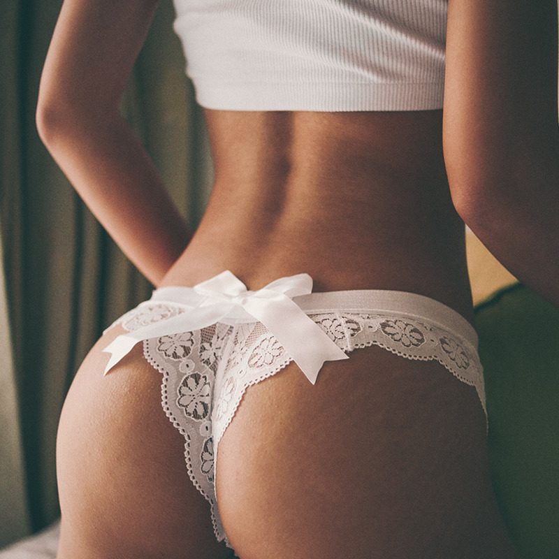 SP&CITY Erotic Floral Lace Women Thong Back Stain Texture Bow Sexy Underwear Transparent Panties Solid Lingerie Briefs For Women