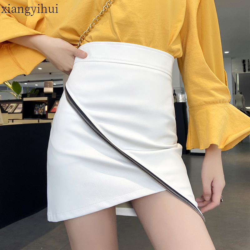 Fashion 2020 Irregular Women Skirt Solid Club Black White Pu Leather Party Skirts Mini Short Asymmetrrical Skirts Plus Size XXL