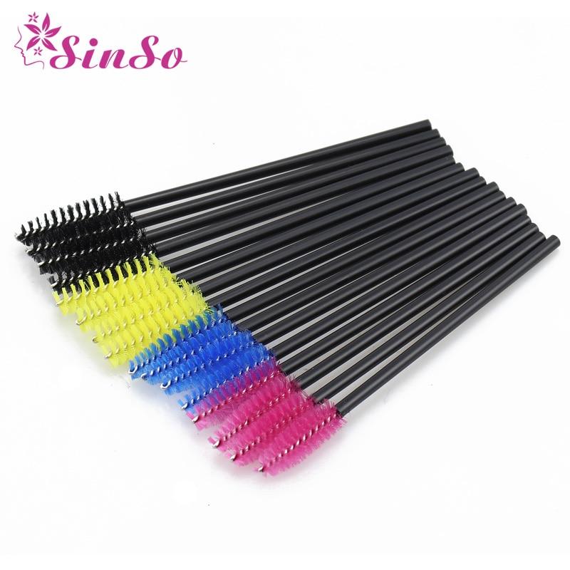 SinSo 50pcs Colorful Disposable Eyelash Applicator Wands Curler Brush Set Mascara Eyebrow Spoolers Comb Wands Spoolies Brushes