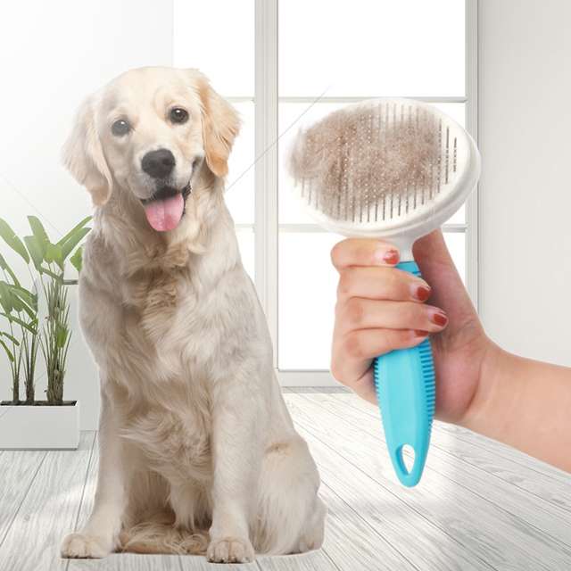 Pet Comb Self Cleaning Brush Comfortable Handle Automatic Quick Clean   1