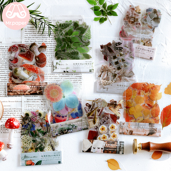Mr.paper 40Pcs/bag Plant Flower Mushroom Ginkgo Pet Deco Diary Stickers Scrapbooking Planner Decorative Stationery Stickers