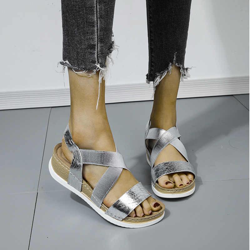 MCCKLE 2020 été femmes sandales élastique PU décontracté or Bling chaussures femmes plate-forme compensées Sandalias dames femme grande taille