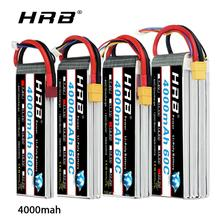 HRB batería Lipo 3S para coche de control remoto, 4S 6S, 4000mah, 14,8 v, 22,2 v, enchufe Lipo 60C XT60 para coche, barco, Dron, trex 500 550 600E, alineación de helicóptero