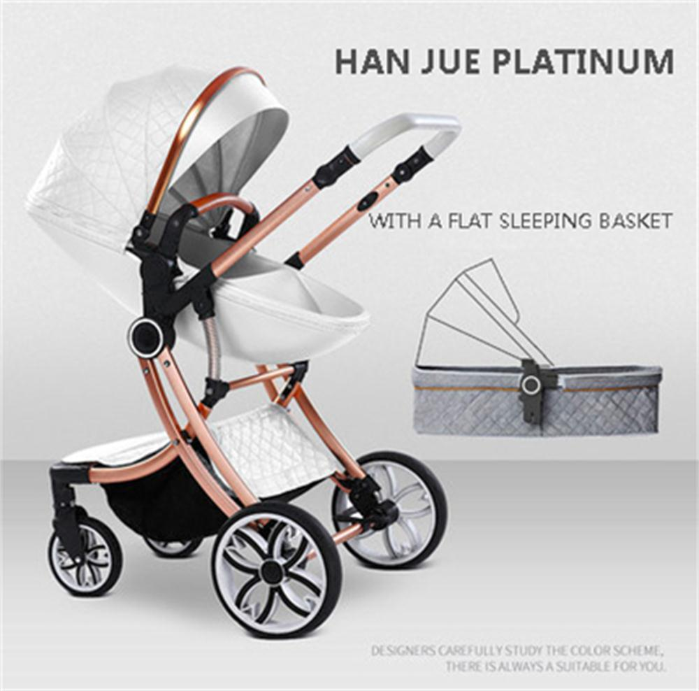 Color : Black Two Way Fashion Strollers 2 in 1 Baby Pushchairs Newborn Prams Toddlers Bassinet Fold Reclining
