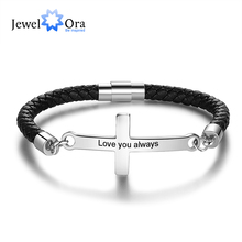 Personalized Stainless Steel Cross Engraved Name Men Bracelets