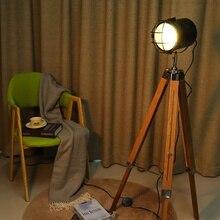220V E27 drewniana lampa podłogowa statyw Vintage sypialnia czytanie Spotlight oprawa Decor lampa stołowa oświetlenie wewnętrzne wysokość regulowana